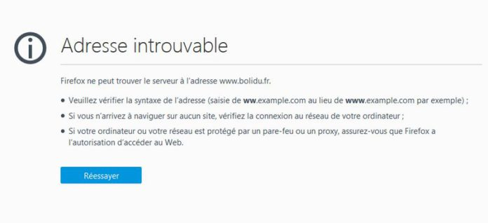 adresse de site web introuvable